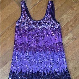 Express purple ombré sequin dress size small